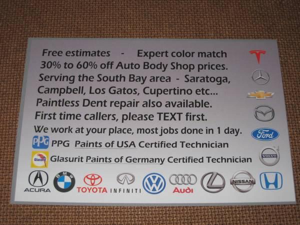 Auto Body Paint Repairs, Bumper Scratch Repair, Dings & Dent Repair. (campbell)